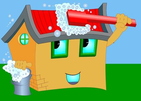 nettoyer: Illustration d'une maison de dessin anim� avec la brosse de lavage et un seau