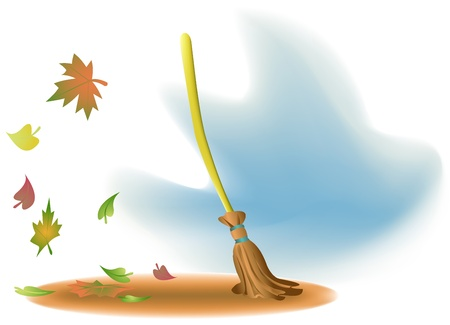 Illustration of a broom and falling leaves