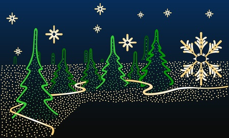 Illustration of a winter night background with fur-trees, lights and a tape Stock Vector - 11382492