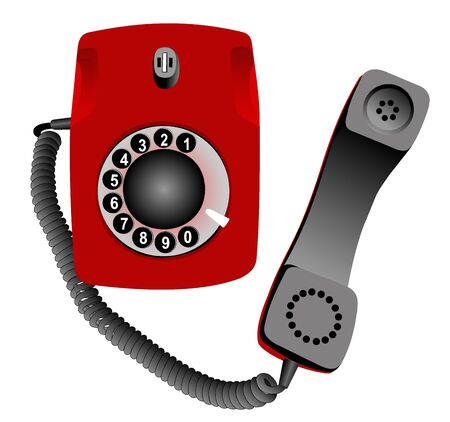 taken: Illustration of phone with the taken off tube on a white background