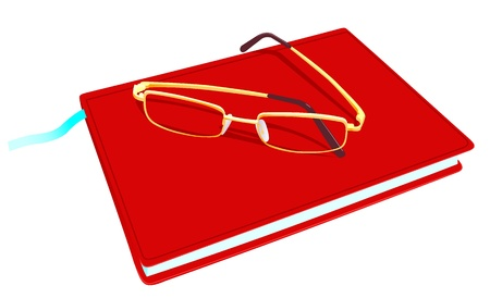 Illustration of the closed book and glasses on a white background Illustration