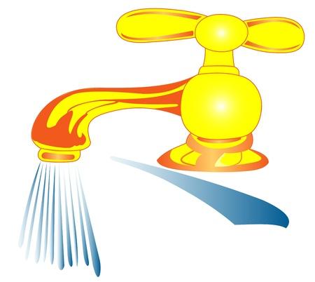 watery: Illustrazione della gru acqua con corsi d'acqua su uno sfondo bianco