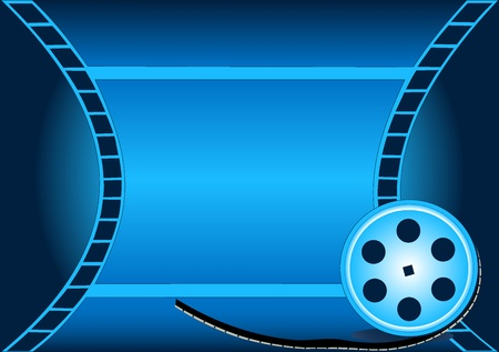 video reel: Illustration of the cinema background with winning tale and coil