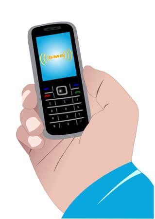 Illustratie van een hand met een mobiele telefoon