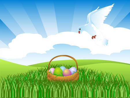 Illustration of a dove over the Easter basket Illustration
