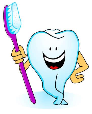 higiena: Ilustracja z uśmiechem ząb szczoteczką do zębów Ilustracja