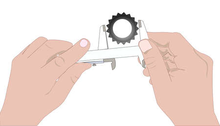 illustration of hands with a caliper, measuring gear Vector