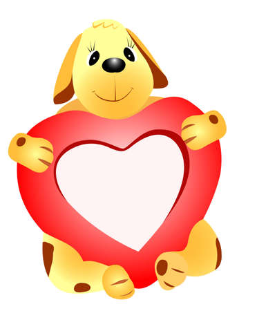 Illustration of a dog with a heart on a white background Vector
