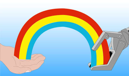 synthetic: Illustration of a human and a robot hand with a rainbow