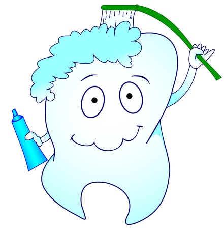 Illustration of a tooth with a brush and toothpaste