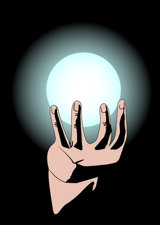 Illustration of hands and the magic ball on a dark background Stock Vector - 12792916