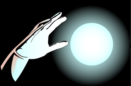 Illustration of hands and the magic ball on a dark background