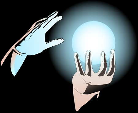 clairvoyance: Illustration of hands with a magical ball Illustration