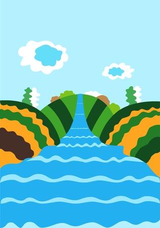 De natuur illustratie met de rivier en wolken in de lucht