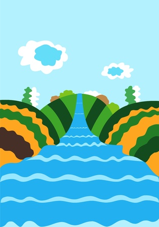 Nature illustration with the river and clouds in the sky