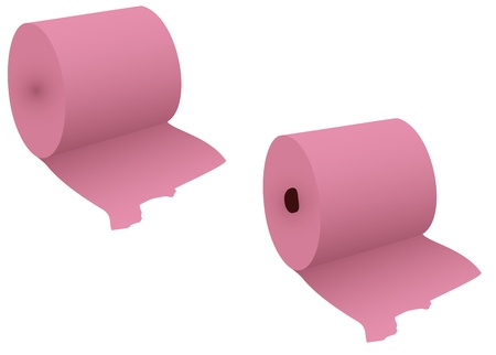 2 rolls of a hygienic paper on a white background