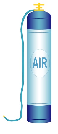 compressed air: Illustration of an oxygen cylinder with a hose on a white background