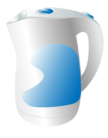 electric kettle: Illustration of the electric kettle on a white background