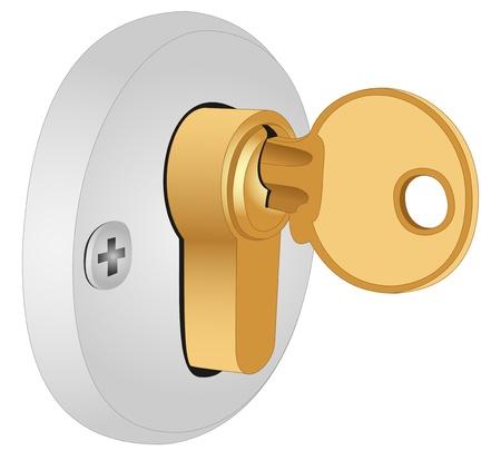 Illustratie van de sleutel in het slot op een witte achtergrond Stock Illustratie