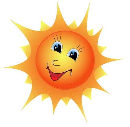 Illustratie cartoon lachende zon op een witte achtergrond Vector Illustratie