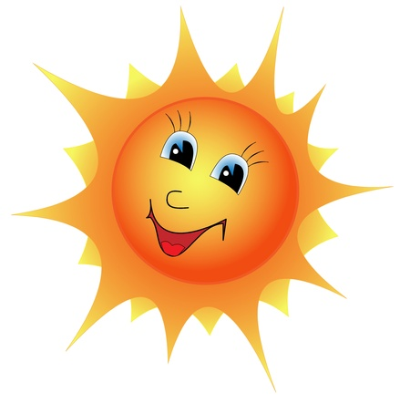 Illustration cartoon smiling sun on a white background Illustration