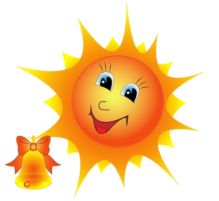 Illustration of a cartoon Sun with Bell on a white background