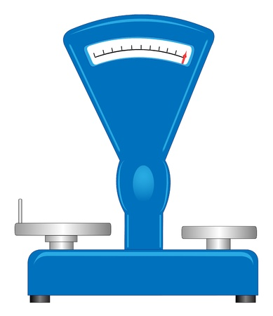 leverage: Illustration of a retro-store scales on a white background