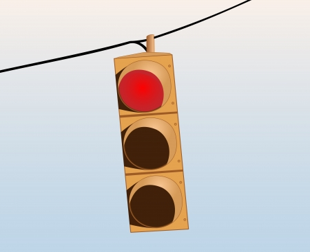 city lights: Illustration of a red traffic signal on the wire against the sky