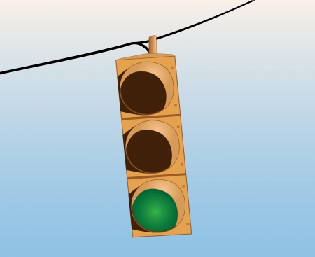 Illustration of a greem traffic signal on the wire against the sky Vector