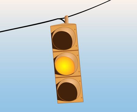 Illustration of a yellow traffic signal on the wire against the sky Vector