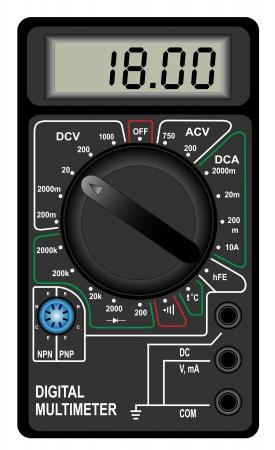 Illustratie van de digitale multimeter op een witte achtergrond Stock Illustratie