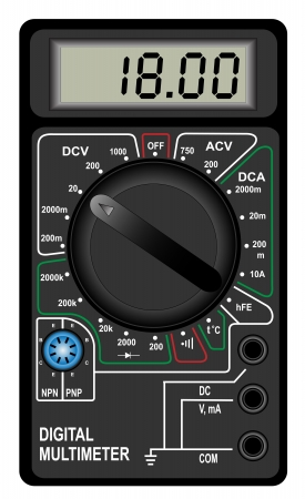 Illustration of the digital multimeter on a white background Vector