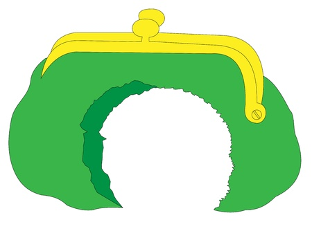 Illustration of a torn green purse on a white background Illustration