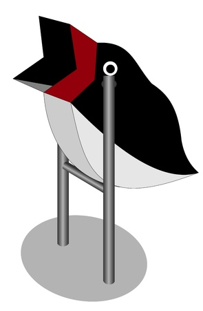 Illustration of the trash can in the form of a Penguin Vector