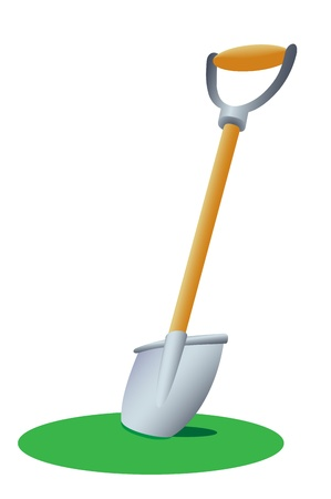 Illustration of a shovel stuck in the grass Stock Vector - 15165741
