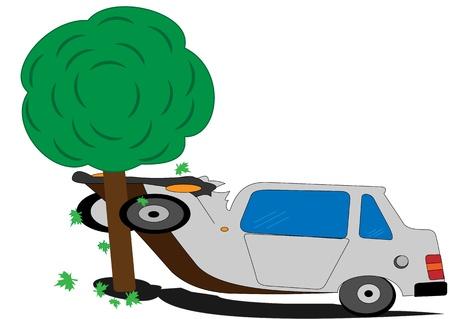 Illustratie van een casrtoon machine met een boom als gevolg van een verkeersongeval