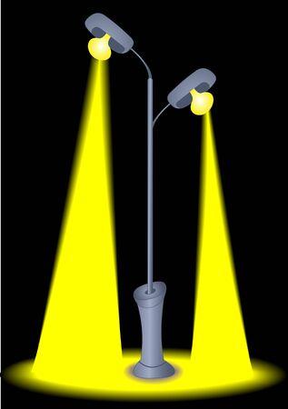 Illustration lantern with glowing lights on dark background Vector
