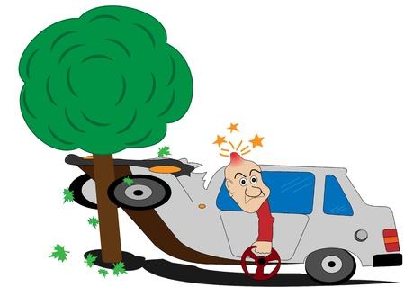 bumps: Illustration of a road accident and the man with the wheel