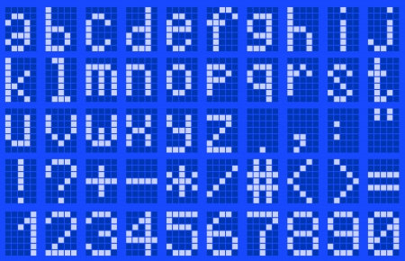 Illustration lowercase alphabet digital LCD indicator on a blue background Vector