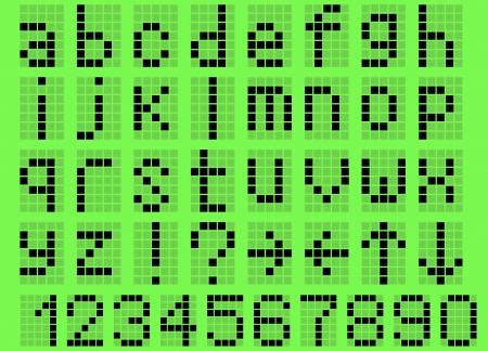 Illustratie kleine letters alfabet digitale LCD-indicator op een groene achtergrond