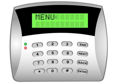 alarme securite: Illustration du panneau de la serrure cod�e avec afficheur LCD Illustration