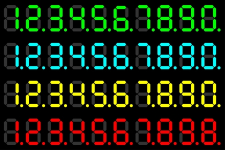 Illustration of a set of numbers of different color LED