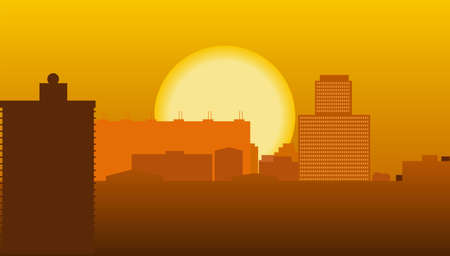 Illustration of the high-rise buildings of the city against the backdrop of the setting sun Vector