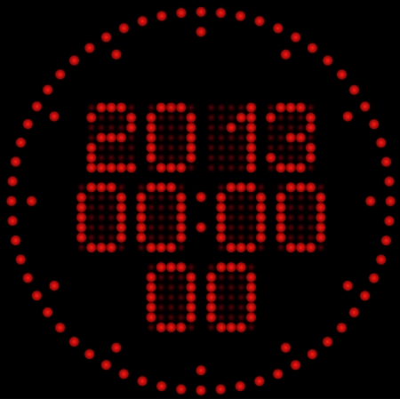 Illustration of the digital led clock with calendar Stock Vector - 16201807