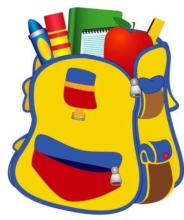 Illustratie School schooltas met boeken, potloden, een liniaal op een witte achtergrond Stock Illustratie