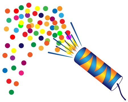 Illustration of Christmas crackers with confetti on a white background Illustration