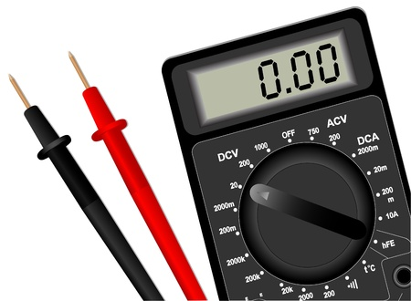 impedance: llustration of the digital multimeter on a white background