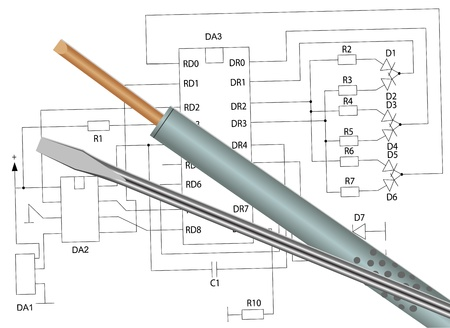 soldering: Illustration of the soldering iron and a screwdriver on the electronic circuit Illustration