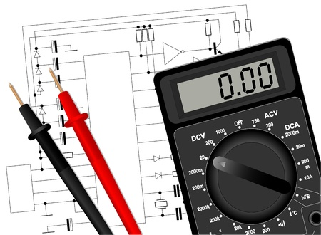 multimeter: Illustration of a digital multimeter on the electrical circuit Illustration