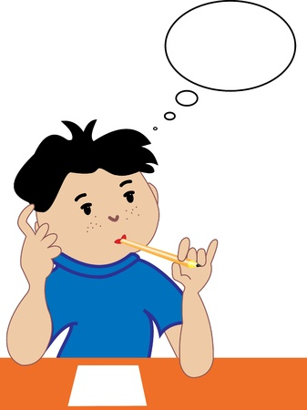 Illustration thought the boy with a pencil and Speech Bubbles on a white background Stock Vector - 17599924